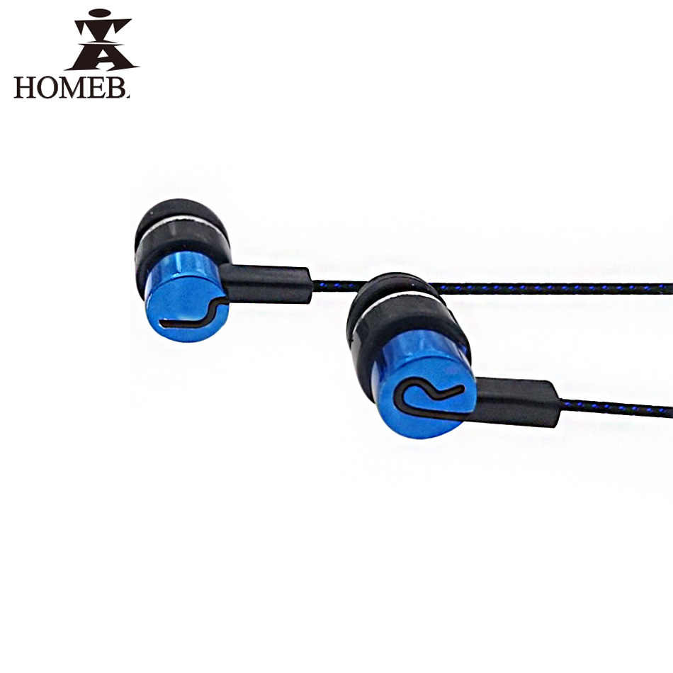 Homebarl Stereo Olahraga Earphone Ship In-Ear Earbud Reflektif Serat Kain Line Earphone Logam PK Headset untuk Xiaomi MP3 MP4