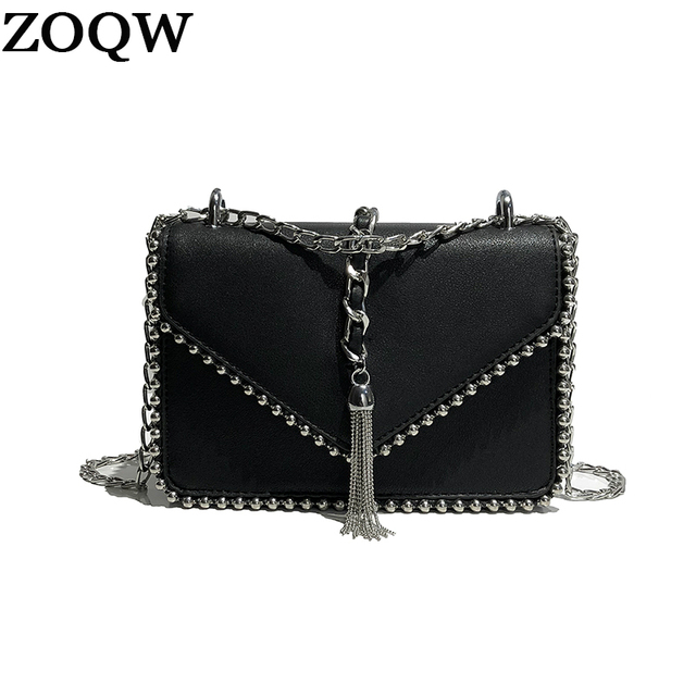 53fe104e76 ZOQW Korean Style PU Leather Crossbody Bags for Women Fashion Tassel Women  Messgner Bags Chain Small Shoulder Bag 2018 WYQ1433