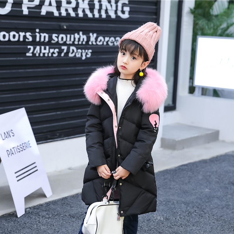 XYF8868 Boys Girls Winter Down Jackets Kids Cartoon Letters Winter Jacket Coat Warm Outerwear Long Coat 85% White Duck Down