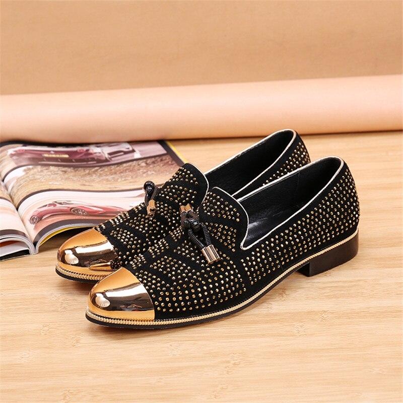 Pic Proteção Do Ferro Homens Casual Moda Embellished Cabeça As Dedo Pedrinhas Pé Sapatos Mocassins Flats on Couro Respirável Redondo De Slip xwqfwFRW