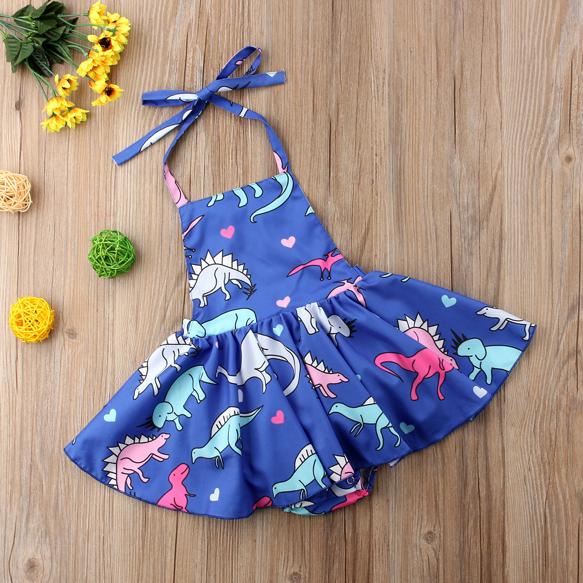 a9d65976994f 2018 Brand New Toddler Infant Kids Baby Girl Dinosaur Fly Sleeve Romper  Dress Jumpsuit Outfits Summer Strap Mini Sundress 1 4T-in Dresses from  Mother   Kids ...