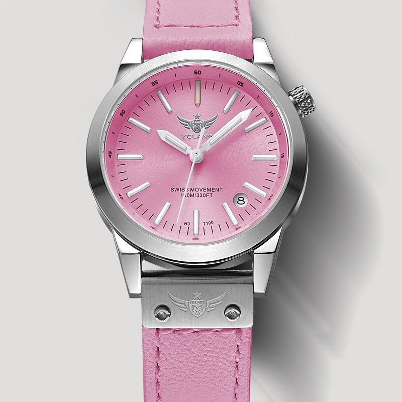 Nouveau Arrivent YELANG V1010 Mise À Niveau Version T100 Tritium Rose Lumineux Étanche Lady Femmes Mode Casual Quartz Montre-Bracelet
