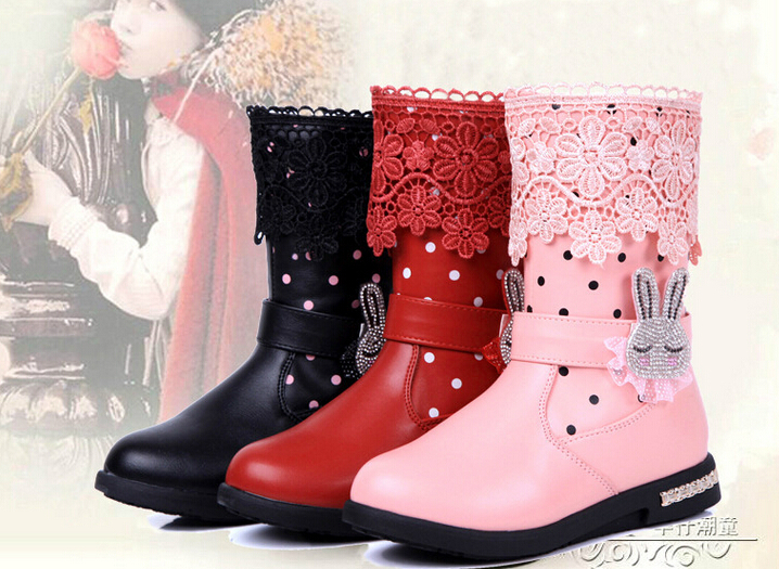 2014 Winter Girls Snow Boots Children Fashion Leather Shoes Kids Cotton Snow Boots knee-high Leather Boots For Children high quality kids boots girls boots fashion leather snow boots girls warm cotton waterproof girls winter boots kids shoes girls