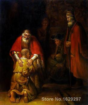 Return of the Prodigal Son Rembrandt van Rijn painting for sale Hand painted High quality leather