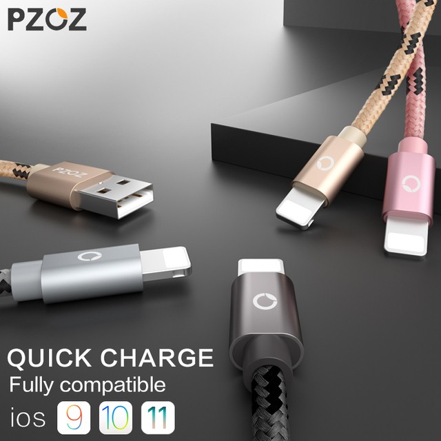 PZOZ For iPhone 7 Cable Fast Charger Adapter 8 Pin USB Cable car For iPhone 6 6S Plus 5 5S SE X iPad Mobile Phone charging Cabel