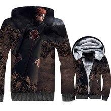 2019 winer Thick swag coats Anime Naruto Thitara Sanri Nagato sweatshirt men casual wool liner jackets 3D Printed zip tracksuits