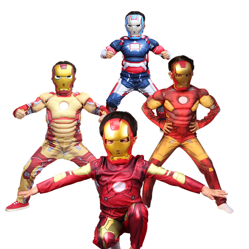 Halloween cosplay costume Muscle Iron Man for boys girl fancy dress costumes ironman costumes for Children Avengers Drerss up