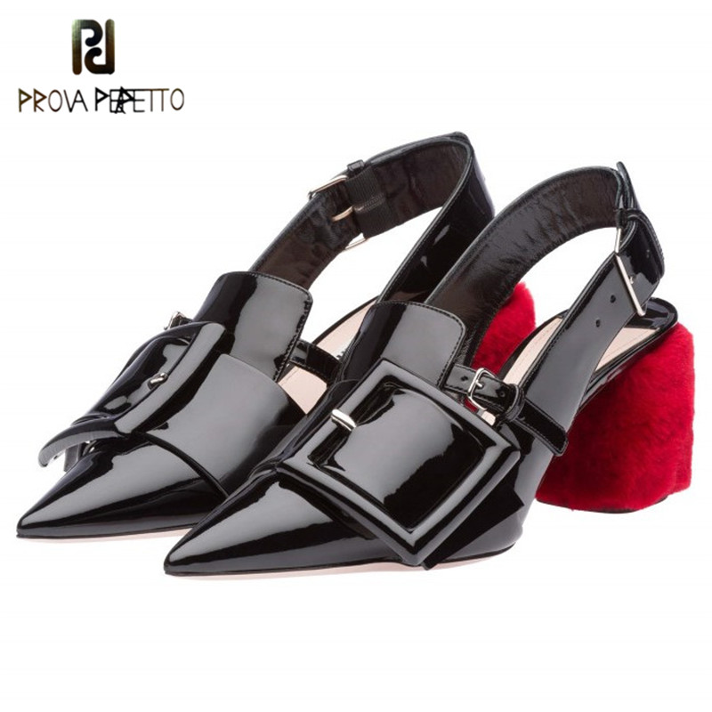 Prova Perfetto Fashion Patent Leather Shoes Woman Red Strange Heel Ladies Shoes Real Leather Buckle High