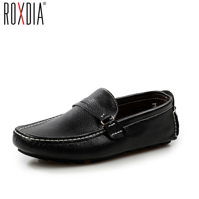 ROXDIA  Men Loafers Genuine Leather Casual Shoes Men's Driving Flats Spring Autumn Plus size 39-48 RXM037 цены онлайн
