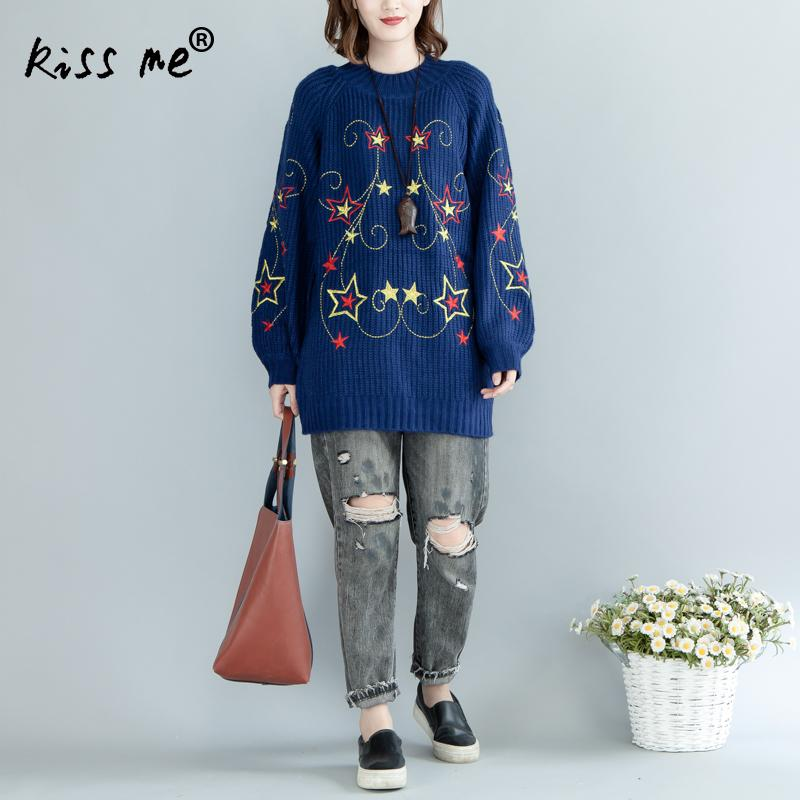 Embroidered Star Womem Sweater Long Sleeve Round Neck Pullovers Women Tops Mid-Long Style Women Christmas Sweater Pull Femme