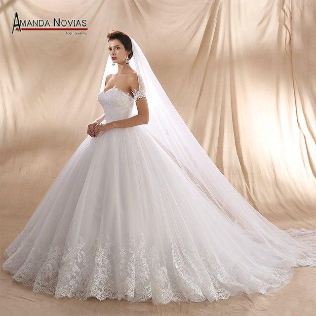 2018 nuevo diseño de pedido de cliente de encaje de la boda vestido