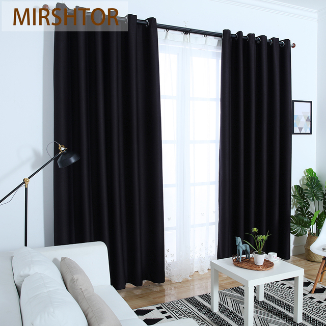 Mirshtor 99 9 Shading Dark Grey Brown Black Out Solid Color Blackout Curtain Panel For Bedroom
