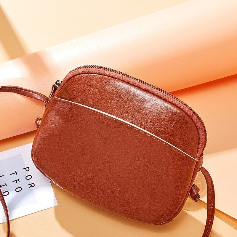 Nouveauté sac à bandoulière en cuir véritable pour femmes sac à bandoulière Simple Mini sac en cuir cireux Vintage