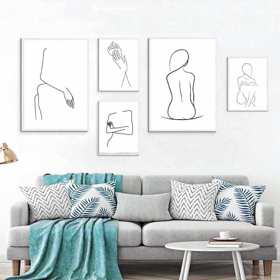 Холст печатных плакат для дома декоративный Nordic Женственная Дамская обувь линии живопись, настенная живопись Фотографии творческий современный Гостиная модульная