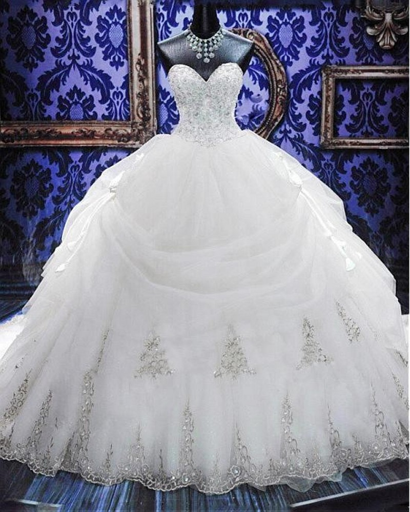 Luxury Gold Embroidery Ball Gown Wedding Dress 2017 Hot