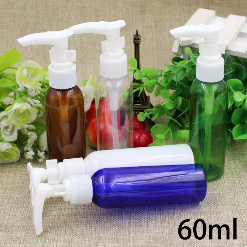 Brown/Blue/Green/White Refillable 60ml Plastic Press Pump Bottle Cosmetic Cream Shampoo Shower Gel Pump Bottles Free Shipping-in Refillable Bottles from Beauty & Health    1