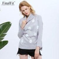 FinalFit Polka Dot Turtleneck Wool Sweater Women Casual Knitted Winter Sweater Warm Jumper Pullover Female