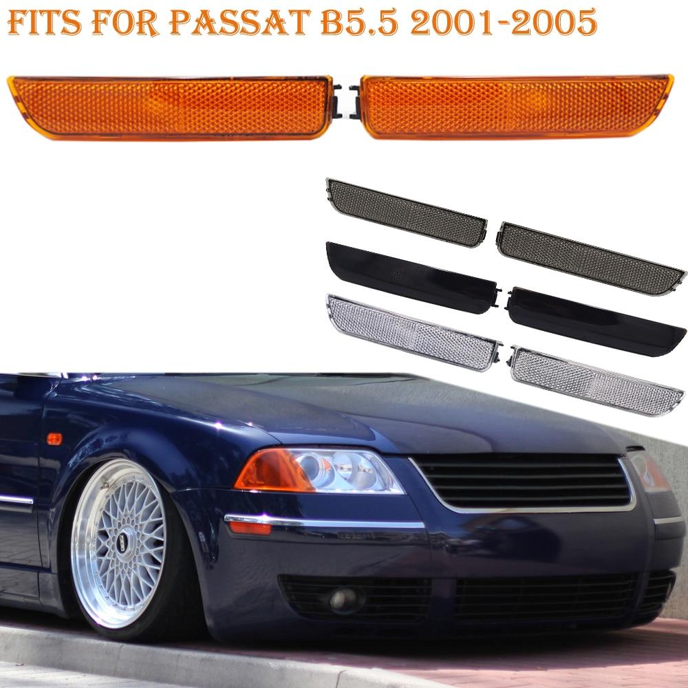 Fits For Passat B5.5 2001-2005 Front Corner Bumper Side Marker Turn Signal Light Amber Black Smoke White Lens