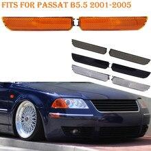 Fits para passat b5.5 2001-2005 canto dianteiro pára-choques marcador lateral turn signal luz âmbar fumaça preta lente branca