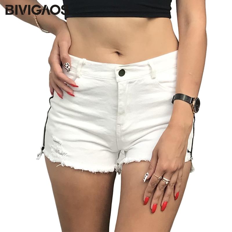 BIVIGAOS Women's Summer Side White Striped   Shorts   Jeans Ladies Plus Size Denim   Shorts   Ripped Holes Wide Leg   Short   Jeans Femme