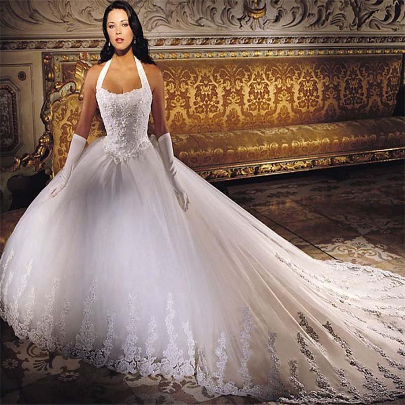 Elegance Halter Gold Embroidered Wedding Gown Bridal