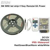 Étanche Led Bande 5 M 5050 SMD Flexible Lumière Blanc Chaud Rouge Vert Bleu blanc Ruban Bande LED Lumière de Bande
