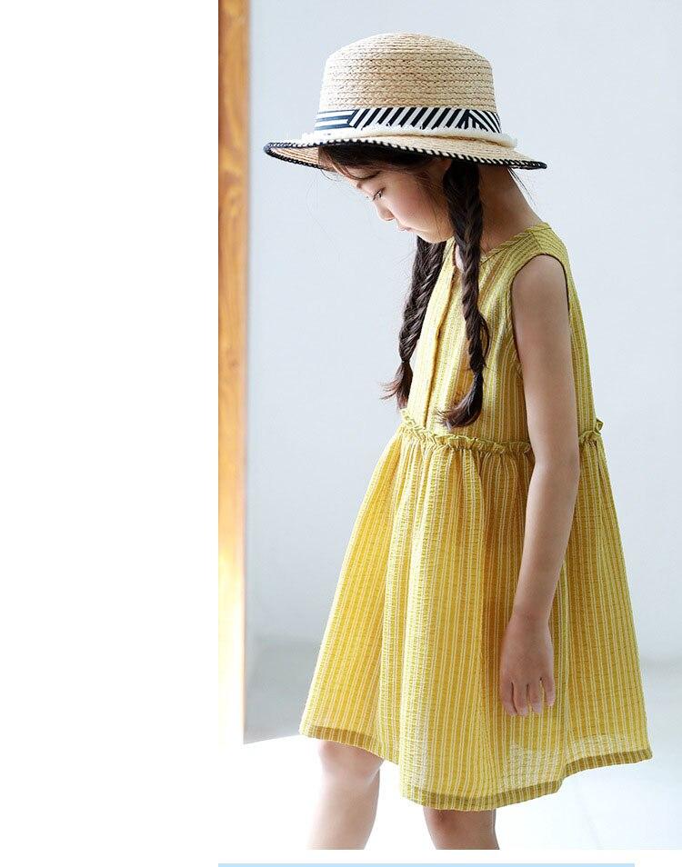 4e620b2000dd ... kids baby girls sleeveless dresses summer 2018 with button princess  little teenage girls dress yellow striped