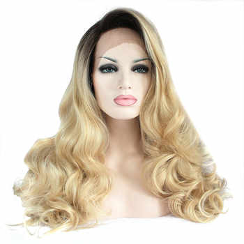 Sylvia Heat Resistant Fiber Hair With Dark Roots Long Body Wave Wigs With Side Part Bang Synthetic Lace Front Wig For Women - DISCOUNT ITEM  18% OFF Hair Extensions & Wigs