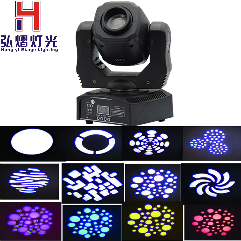 Mini 60 watt moving head dmx 512 controller dj gobo night club lighting