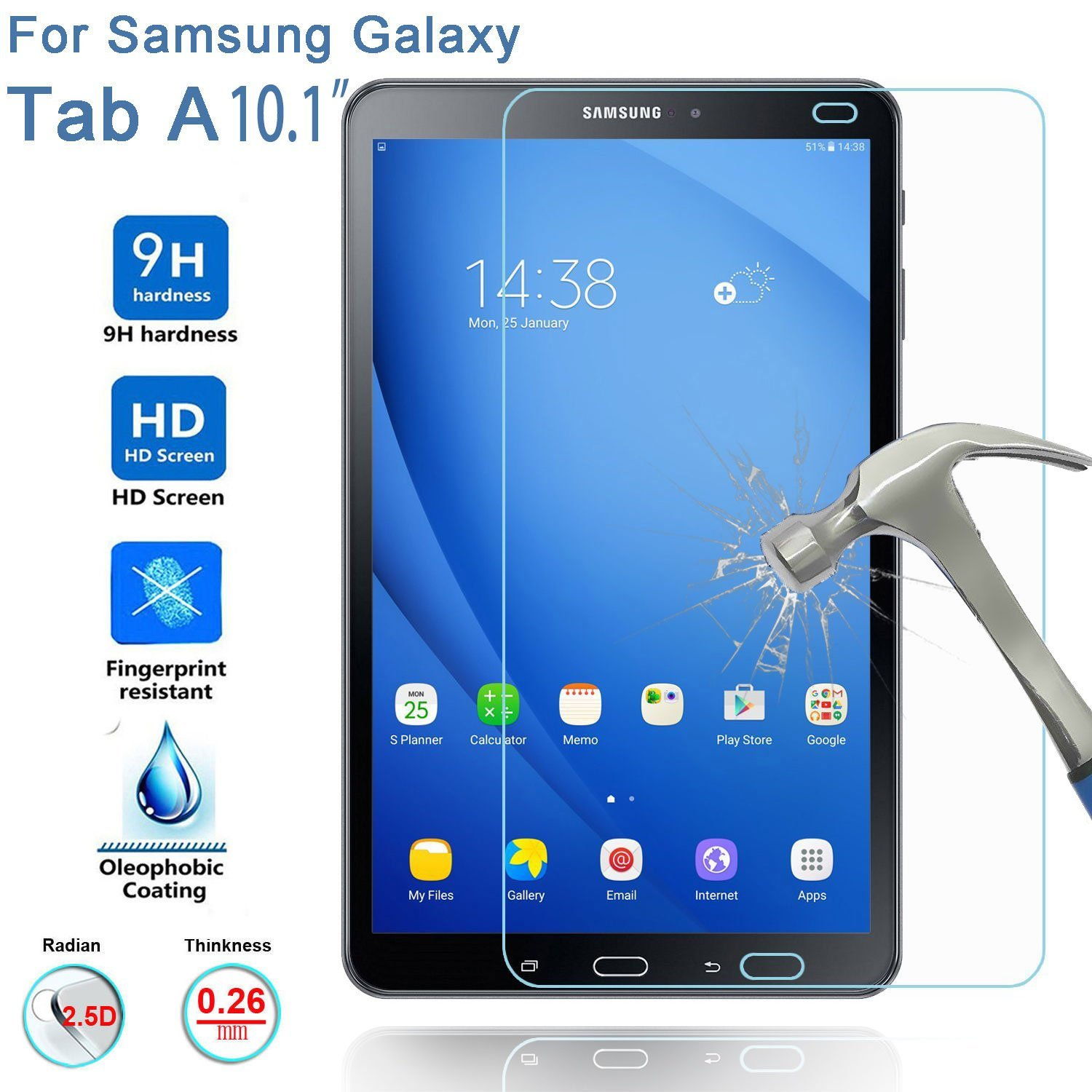 9h tempered glass for samsung galaxy tab a 10 1 2016 screen protector for galaxy tab a 10 1 sm. Black Bedroom Furniture Sets. Home Design Ideas