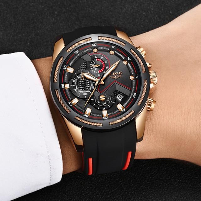 LIGE New Mens Watches Top Luxury Brand Men Unique Sports Watch Men's Quartz Date Clock Waterproof Wrist Watch Relogio Masculino 5