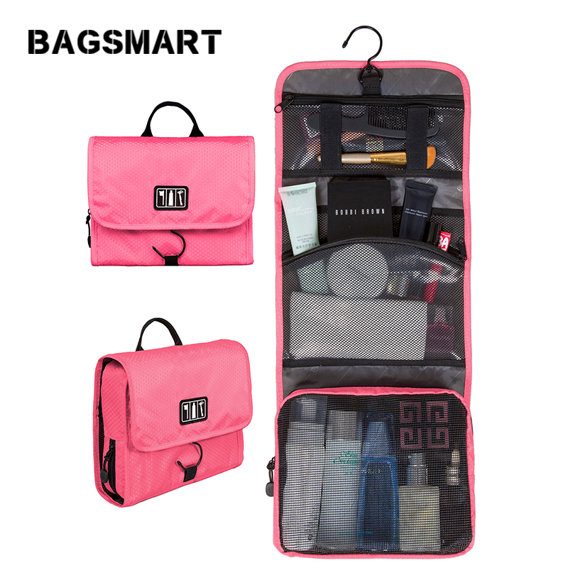 BAGSMART Waterproof Cosmetic Bag Women Travel Toiletry Kit Folding Makeup Organizer Bag Hanging Case For Cosmetic