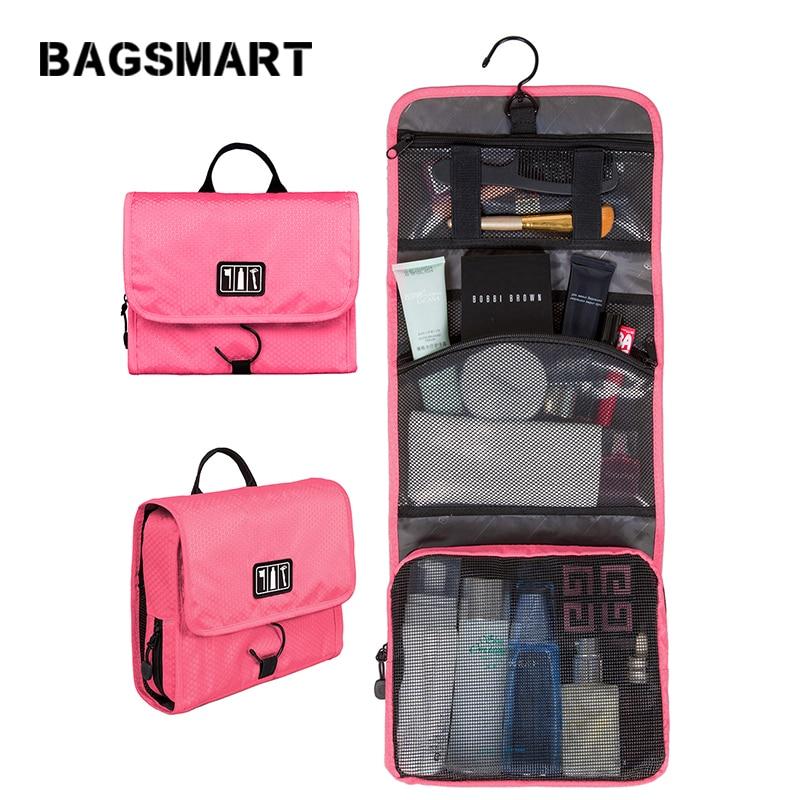 BAGSMART Waterproof Cosmetic Bag Women Travel Toiletry Kit Folding Makeup Organizer Bag Hanging Case For Cosmetic