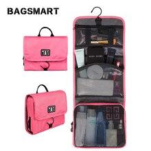 BAGSMART Waterproof Cosmetic Bag Women Travel Toiletry Kit Folding Makeup Organizer Bag Hanging Case for Cosmetic стоимость