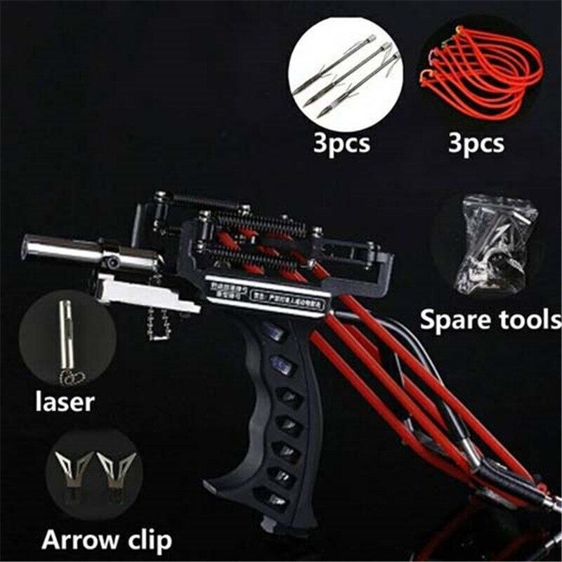 Poderosa aço inoxidável Slingshot Caça Laser De Pesca Forte Sling Shot Catapult slingshot profissional com faixa de borracha