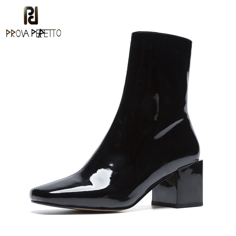 Prova Perfetto Fashion Patent Leather Women Boots Zipper Side Square Toe Ankle Boots Woman Genuine Leather High Heel Short BootsProva Perfetto Fashion Patent Leather Women Boots Zipper Side Square Toe Ankle Boots Woman Genuine Leather High Heel Short Boots