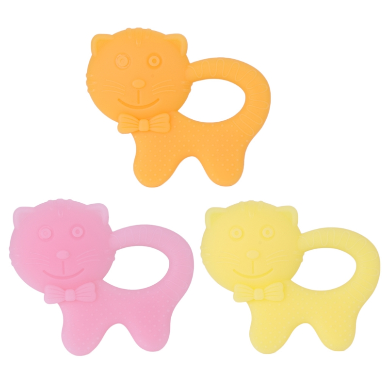 Baby Teether Soft Silicone DIY Kids Teethers Cute Cat Kitten Shape Cartoon Ring Crafts Chewing