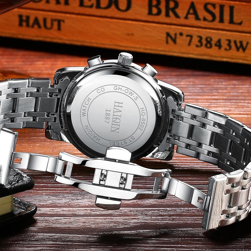 HAIQIN Men's Watches New Military Luxury Brand Watch Men Quartz Stainless Steel Watch Male Fashion Chronograph Relogio Masculino