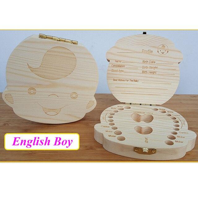 English/Spanish Wooden Box Tooth Box Organizer Save Milk Teeth Box Storage Teeth Gift Umbilical Cord Lanugo caja madera 4