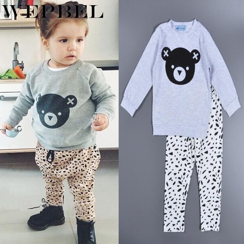 WEPBEL/новая модная одежда для малышей футболка унисекс с рисунком медведя + штаны комбинезон для младенцев мальчиков девочек Одежда для новорожденных