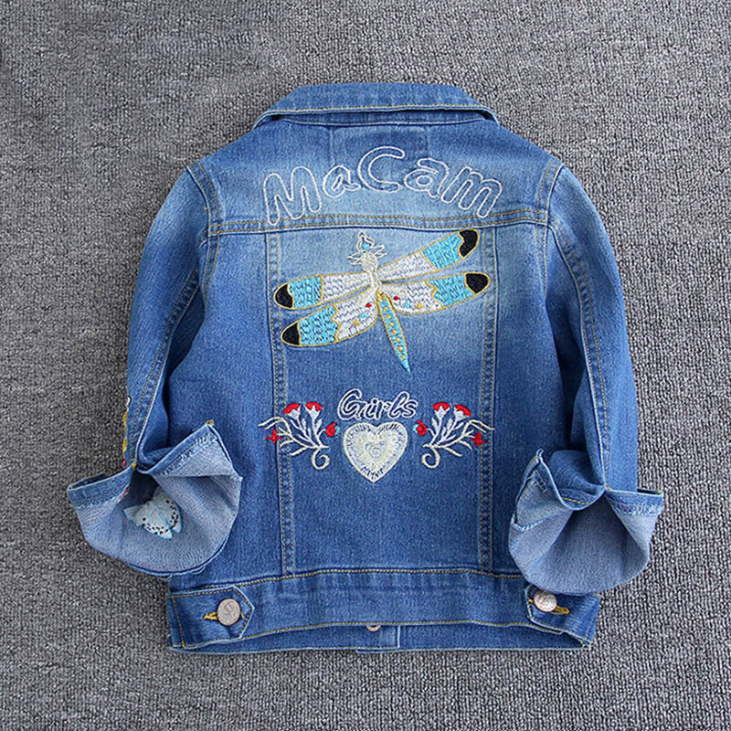 Meitenes džinsa jakas Jakas Mājiņas Bērnu apģērbi Izšūšana Cute bērnu apģērbi Pavasara rudens Kids Jean Jacket 2-9 gadi