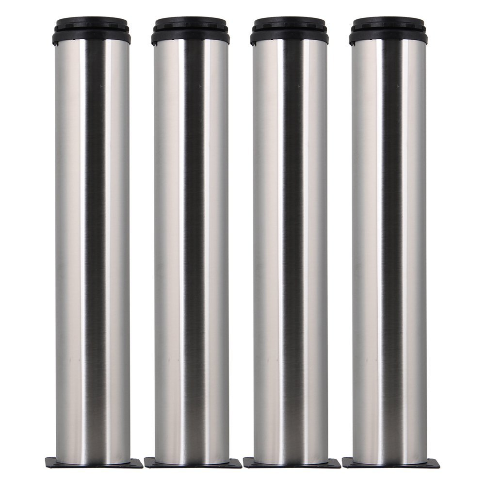 4pcs Stainless Steel Thicken 50x300mm Adjustable Furniture Legs Table Bed Sofa Cabinet Feet Foot Legs With Mounting Screws