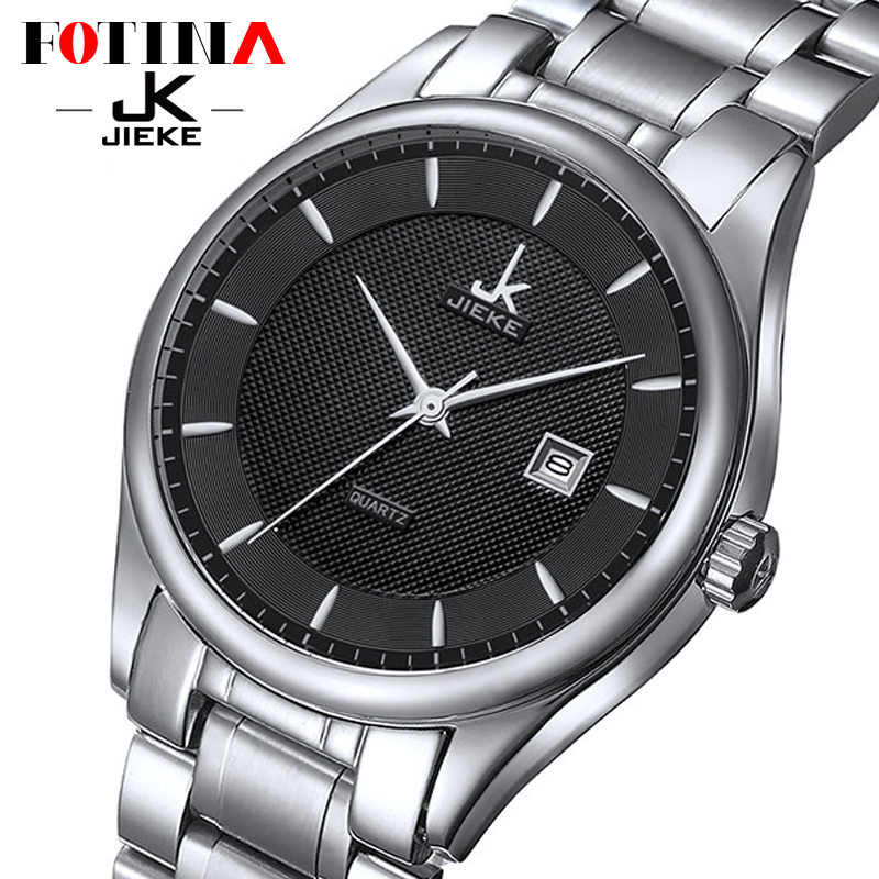 FOTINA Top Brand JK Classic Watch Men Steel Business Dress Wrist Watch Black Clock Date Quartz
