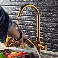 Покрытие Титан золото вытащить Кухня кран Однорычажный Кухня раковина смеситель умывальник Смесители для ванной комнаты горячей и холодно...