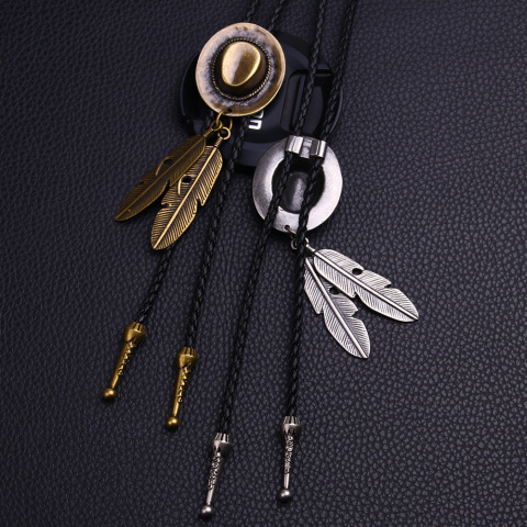 Vintage Cowboy Jazz Hat Alloy Feather Men Women Couples Leather Rope Long Necklace Sweater Chain Bolo Tie Men Accessories Islamabad