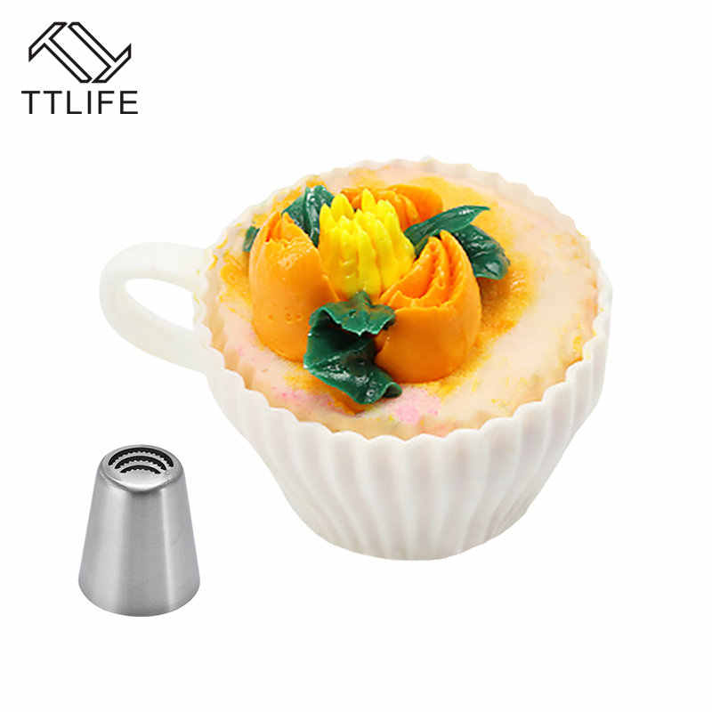 Ttlife 1 PC 4 Gaya Kue Dekorasi Alat Baking Aksesoris Stainless Steel Icing Piping Nozzle Fondant Krim Mulut Torch