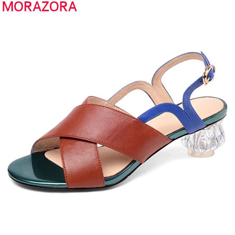 MORAZORA 2019 grande formato 46 sandali di cuoio genuino scarpe da donna colori misti sandali estivi tacchi di cristallo del partito del vestito scarpe donna-in Scarpe col tacco medio da Scarpe su  Gruppo 1