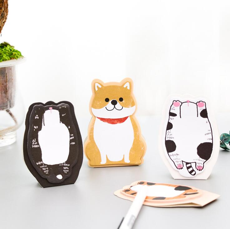 Lovely Dog Fat Cat Memo Pad Sticky Notes Escolar Papelaria School Supply Bookmark Label