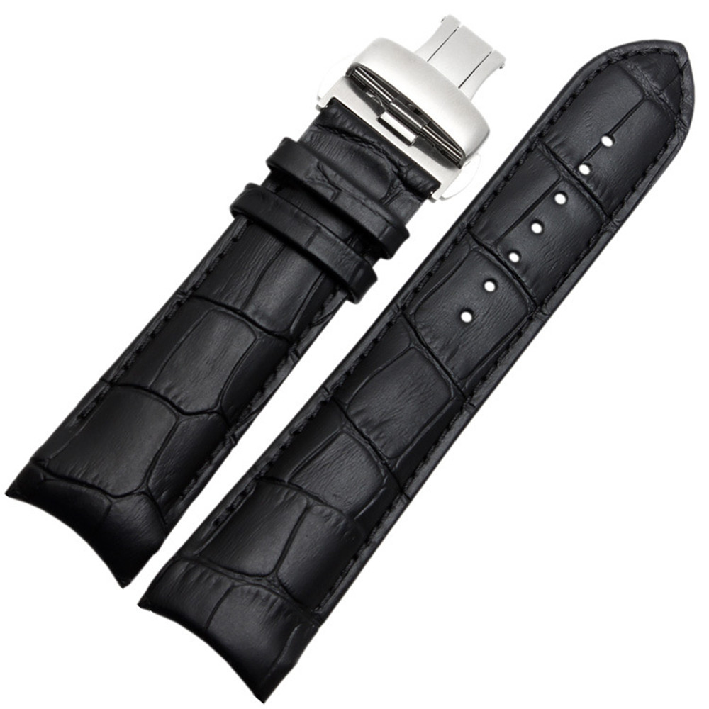 For Tisot Couturier T035 Watch Band Steel Buckle Strap Wrist Bracelet Black Curved End Genuine Leather Watchband 22mm 23mm 24mm