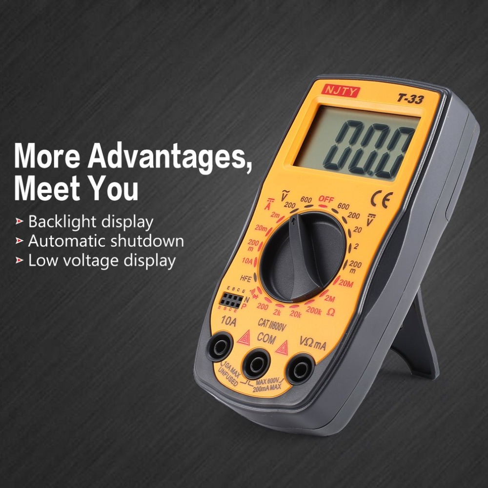NJTY T-33 Digital Multimeter <font><b>DC</b></font>/AC Voltage Current Meter Mini Ammeter Ohm Diode HFE Continuity Tester 2000 Counts Multitester image